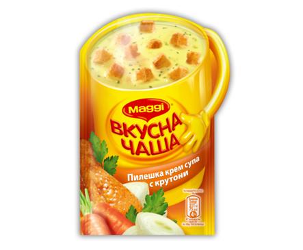 Maggi Вкусна чаша Пилешка крем супа с крутони 16 г