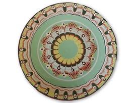 Светло зелена чиния с троянска шарка 20 23 см