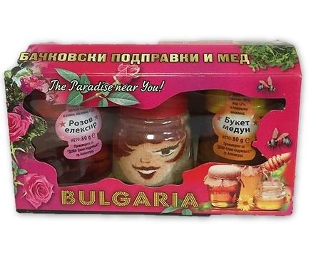 Деми Комплект шарена сол мед и розов еликсир 220 г