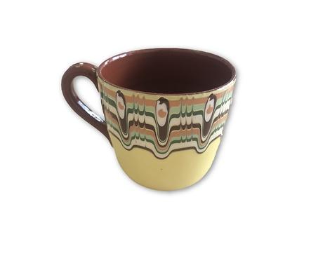 Чаша за чай с троянска шарка Жълта