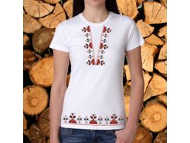 Дамска тениска с щампа българска шевица М