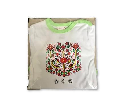 Бебешко боди бяло и зелено български мотив