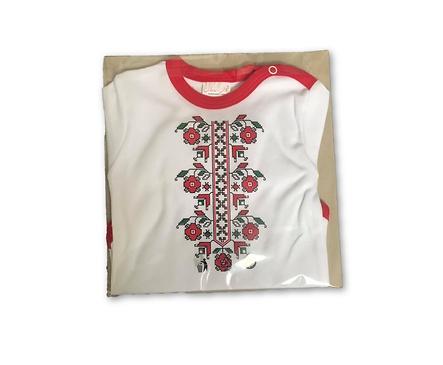 Детско боди бяло и червено български мотив