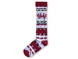 Дамски чорапи с български мотиви бяло и червено