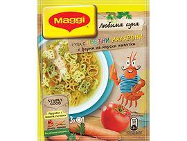 Maggi Супа цветни макарони с форми на морски животни 41 г