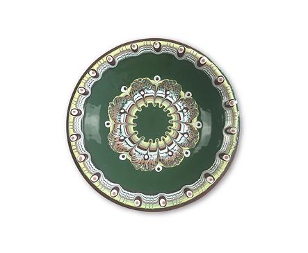 Зелена чиния с троянска шарка 30 см