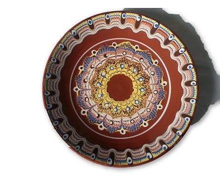 Кафява чиния с троянска шарка 30 см