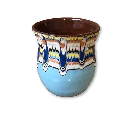 Чаша с троянска шарка светло синя