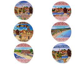 Подложки за чаши България 6 броя кръгли с пейзажи