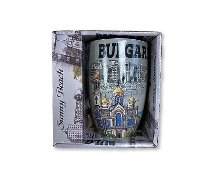 Чаша за чай България с пейзажи и черен надпис