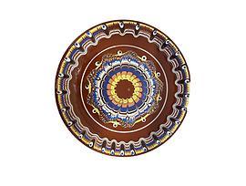 Кафява чиния с троянска шарка 22 см