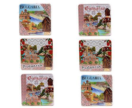 Подложки за чаши България 6 броя квадратни с пейзажи