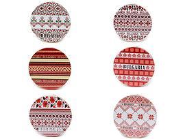 Подложки за чаши България 6 броя кръгли с шевици