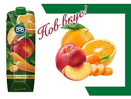 БББ плодова напитка портокал нектарина и морков 15 1000 мл