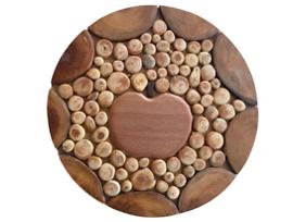 Дървена дъска за топли съдове с елемент Ябълка 18см