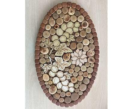 Дървена дъска за топли съдове елипса с елемент Грозде 30см