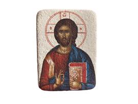 Магнит икона върху камък Исус 7х5 см