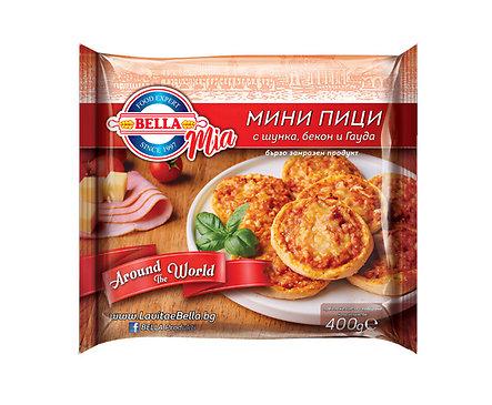 Белла мини пица с шунка бекон и гауда сурови замразени 400 г