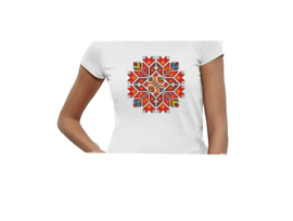 Дамска тениска с щампа българска шевица 235 Размер М