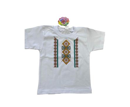 Детска тениска с щампа българска шевица Размер за 104см