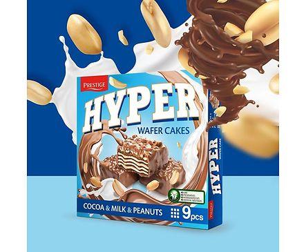 Хипер вафлички с какао мляко и фъстъци 9бр 200 г