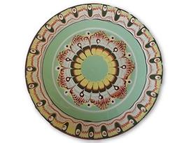 Светло зелена чиния с троянска шарка 18 см