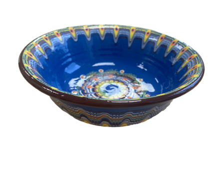 Синя купа с троянска шарка 20 см