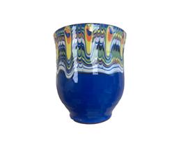 Чаша с троянска шарка тъмно синя