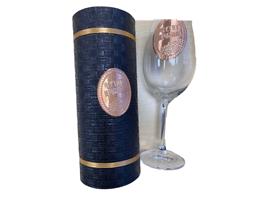 Луксозен тъмен тубус със стъклена чаша и надпис Честит празник