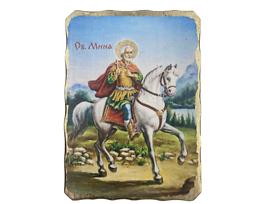 Икона Св Мина рисунка върху дърво 18 х 25см