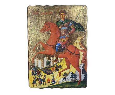 Икона Св Димитър рисунка върху дърво 18 х 25см