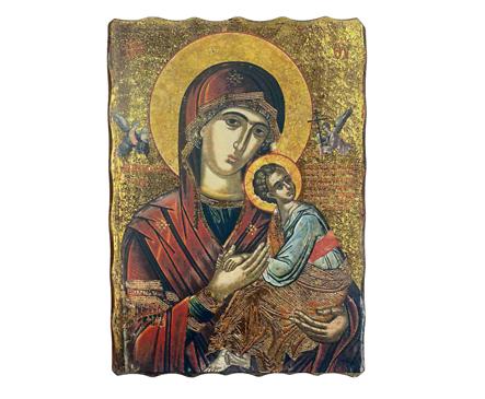 Икона Богородица рисунка върху дърво 18 х 25см