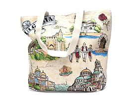Сувенирна дамска чанта в трапецовидна фрома с две дръжки текстил